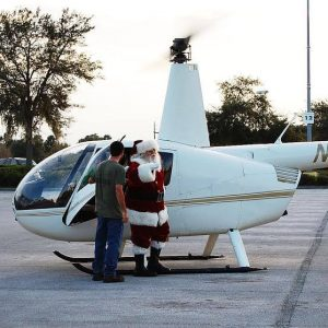 santa coming out of helicopter