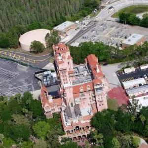 aerial view of Tower of Terror in Disney's Hollywood Studios
